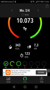 """Die Schrittzähler-App """"ActivityTracker"""" in der kostenlosen Version."""