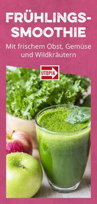 Frühlings-Smoothie mit frischem Obst, Gemüse und Wildkräutern