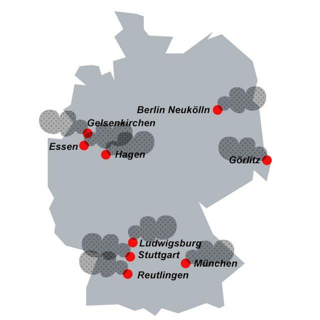 Luftqualität: Feinstaub-Belastung in Deutschland (exemplarisch)