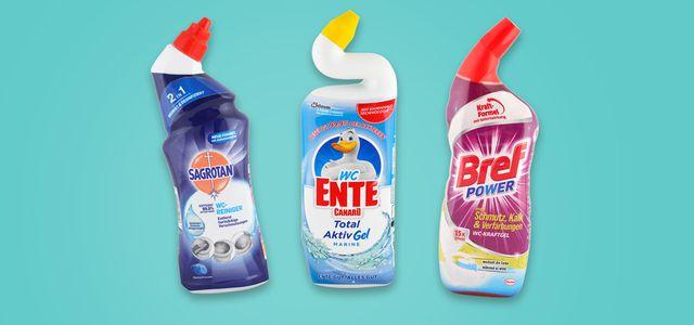 Öko-Test hat WC-Reiniger getestet, unter anderem die Produkte von Sagrotan, WC-Ente und Bref.