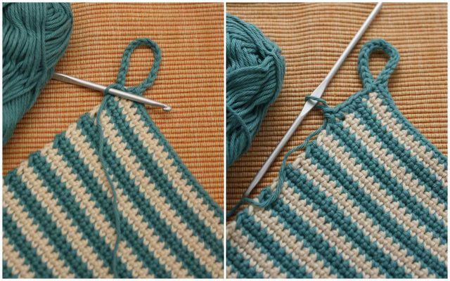 Links: Luftmaschenkette als Aufhänger für den Topflappen.. Rechts: Mit Kettmaschen umhäkelte Luftmaschenkette als Aufhänger für den Topflappen.