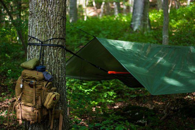 Outdoor-Schlafen mit einer Hängematte im Wald ist eine Grauzone.