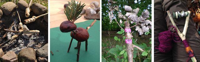 Aus Naturmaterialien lässt sich viel werkeln und basteln: Stockbrot, Kastanienmännchen, Waldgeister, Rasseln und vieles mehr.