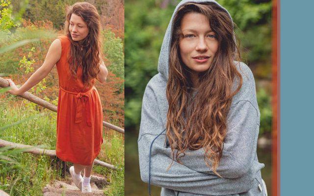 Frühlingsmode 2021 Orangefarbenes Kleid und grauer Hoody