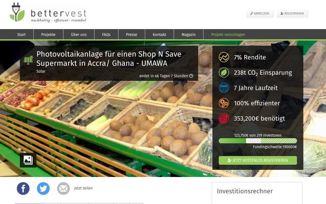 Crowdinvesting-Projekt bei Bettervest.com