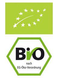 Oben das wichtige, aktuelle EU-Bio Siegel, unten das veraltete, eigentlich nicht mehr aussagekräftige deutsche Bio-Siegel, das aus Marketingsgründen aber immer noch genutzt wird
