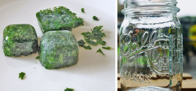 Freeze food without plastic sustainable kitchen tips household hacks mason jar spinach