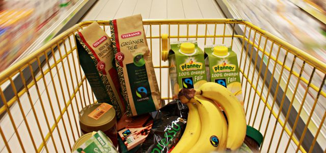 Fair gehandelte Produkte mit TransFair-Fairtrade-Siegel