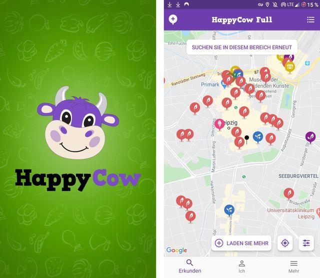 """Die vegane App """"HappyCow"""" findet Restaurants und Imbisse."""