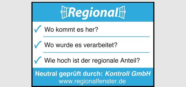 Regionalfenster-Kennzeichnung Regional Label Zeichen Siegel
