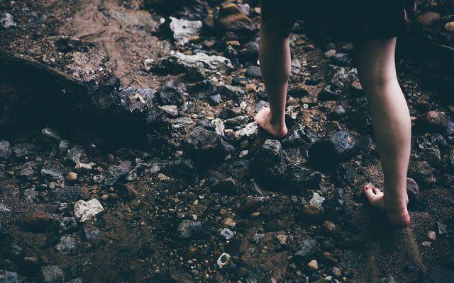 walking barefoot on rocks