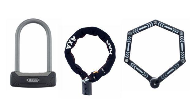 Fahrradschlösser der Marken Abus, Axa und Kryptonite