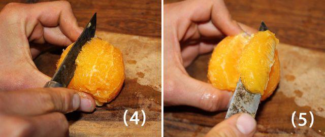 Dann kannst du die feinen Orangen-Filets vorsichtig heraustrennen.