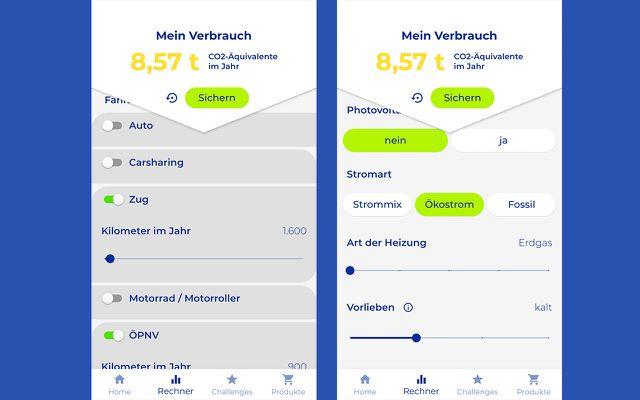 Die Klimakompass-App zeigt euch euren (einigermaßen) individuellen CO2-Fußabdruck anhand eures Lebensstils