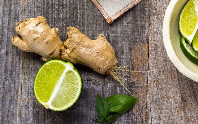 Ginger root benefits lime leaf table