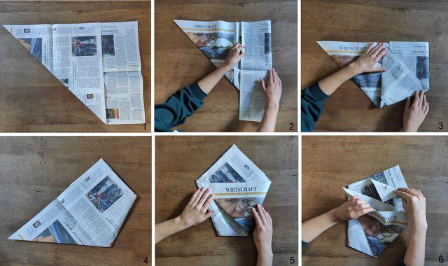 Für den runden Biomüllbeutel benötigst du zwei große Zeitungsbögen.