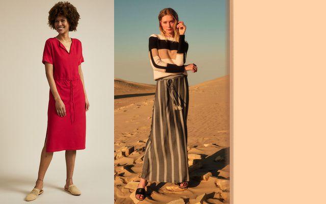 Rotes Kleid mit Tunnelzug und Pullover mit Blockstreifen