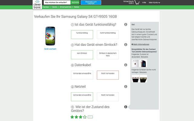 Gebrauchte Handys: Portale die Clevertronic fragen wichtige Daten und schätzen dann den Preis